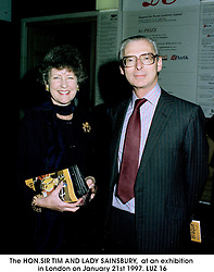 The HON.SIR TIM AND LADY SAINSBURY,  at an exhibition in London on January 21st 1997.LUZ 16