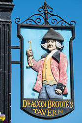 Detail of sign outside Deacon Brodie's Tavern on the Royal Mile in Edinburgh, Scotland, UK