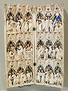 Triptych with the annunciation and coronation of the virgin, 1360-70.  This example is like a miniature Gothic building and its central arch is similar to an arched doorway in St Mark's Basilica, Venice.  The main image shows Christ crowning the Virgin Mary as Queen of Heaven.
