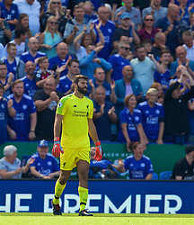 LEICESTER, ENGLAND - Saturday, September 1, 2018: Liverpool's goalkeeper Alisson Becker looks dejected after his mistake leads to Leicester City scoring a goal during the FA Premier League match between Leicester City and Liverpool at the King Power Stadium. (Pic by David Rawcliffe/Propaganda)