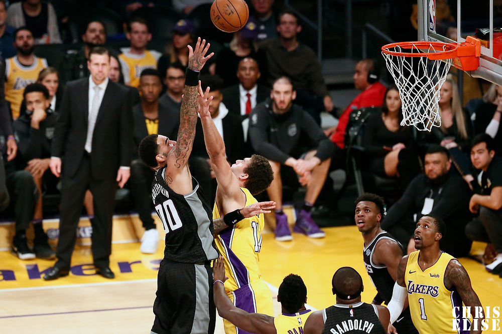 09 January 2018: Sacramento Kings center Willie Cauley-Stein (00) goes for the baby hook over Los Angeles Lakers center Brook Lopez (11) during the LA Lakers 99-86 victory over the Sacramento Kings, at the Staples Center, Los Angeles, California, USA.