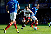 Paul Taylor (10) of Bradford City on the attack during the EFL Sky Bet League 1 match between Portsmouth and Bradford City at Fratton Park, Portsmouth, England on 28 October 2017. Photo by Graham Hunt.