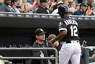 CHICAGO - JUNE 14:  Tim Anderson #12 is greeted by manager Robin Ventura #23 of the Chicago White Sox after Anderson scored against the Detroit Tigers on June 14, 2016 at U.S. Cellular Field in Chicago, Illinois.  The Tigers defeated the White Sox 11-8.  (Photo by Ron Vesely)    Subject:  Tim Anderson; Robin Ventura