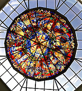 A stained glass window decorates the ceiling of a conference center in Fort Worth, Texas. (Sam Lucero photo)