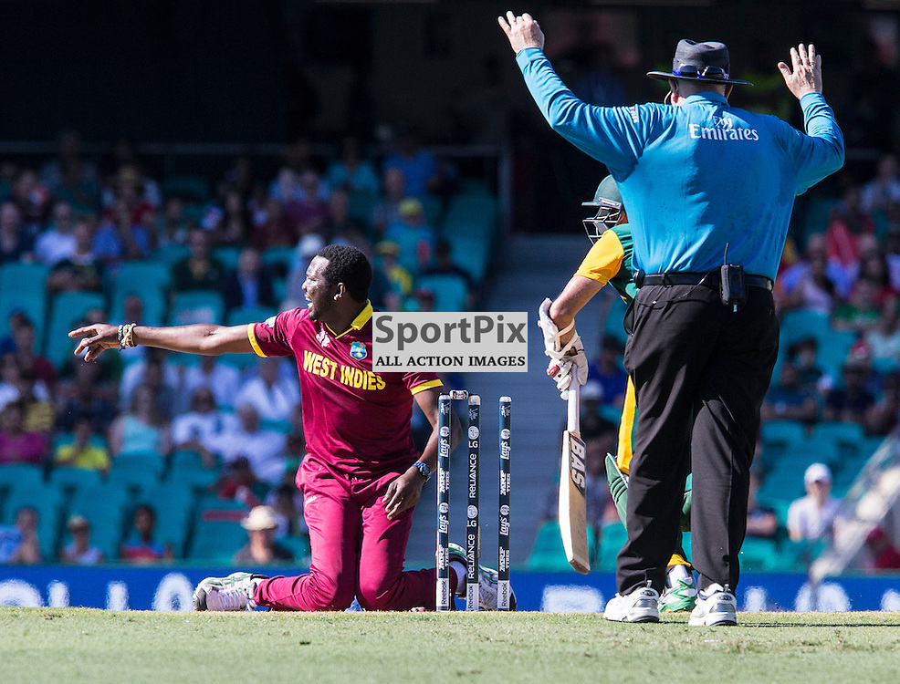 ICC Cricket World Cup 2015 Tournament Match, South Africa v West Indies, Sydney Cricket Ground; 27th February 2015<br /> West Indies Sulieman Benn appeals for a run out