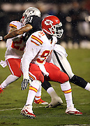 Kansas City Chiefs outside linebacker Tamba Hali (91) makes a move in pass coverage during the NFL week 12 regular season football game against the Oakland Raiders on Thursday, Nov. 20, 2014 in Oakland, Calif. The Raiders won their first game of the season 24-20. ©Paul Anthony Spinelli