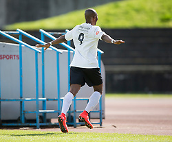 Edinburgh City's Ortega Deniran cele scoring their goal. <br /> Edinburgh City 1 v 1 Brora Rangers, 1st leg, Pyramid Playoffs at Meadowbank, 25/4/2015.