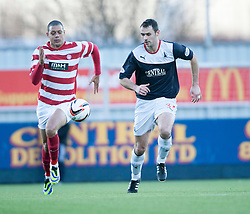 Hamilton's Mickeal Antoine-Curier with Falkirk's David McCracken.<br /> half time : Falkirk 0 v 0 Hamilton, Scottish Championship game at The Falkirk Stadium. &copy; Michael Schofield 2014.