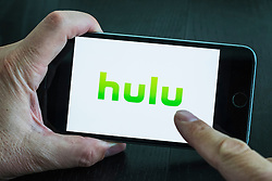 Hulu online movie streaming service logo on screen of iPhone 6 Plus smart phone