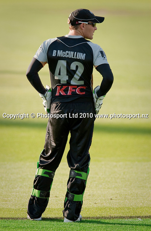 Brendon McCullum during the National Bank Twenty20 Series cricket match between Bangladesh and New Zealand Blackcaps won by 10 wickets by the Blackcaps at Seddon Park, Hamilton, New Zealand, Wednesday 03 February 2010. Photo: Stephen Barker/PHOTOSPORT
