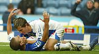 Photo: Aidan Ellis.<br /> Blackburn Rovers v Wigan Athletic. The Barclays Premiership. 01/10/2006.<br /> Blackburn's David Bentley celebrates his goal with Morten gamst Pedersen
