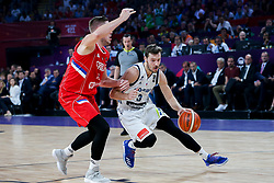 Vladimir Stimac of Serbia vs Goran Dragic of Slovenia during the Final basketball match between National Teams  Slovenia and Serbia at Day 18 of the FIBA EuroBasket 2017 at Sinan Erdem Dome in Istanbul, Turkey on September 17, 2017. Photo by Vid Ponikvar / Sportida