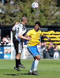 Bristol Rovers' Ellis Harrison loses out to Dover Athletic's Tom Wynter - Photo mandatory by-line: Neil Brookman/JMP - Mobile: 07966 386802 - 18/04/2015 - SPORT - Football - Dover - Crabble Athletic Ground - Dover Athletic v Bristol Rovers - Vanarama Football Conference