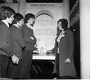 04/01/1974.01/04/1974.4th January 1974.The Aer Lingus Young Scientist Exhibition at the RDS, Dublin..Picture shows some of the Cork Exhibitors at the Young Scientist Exhibition. L-R David O'Reilly of CBS, Cork who did a survey of coastal pollution caused by plastics around Cork harbour; Gerard Mullins and Gerard Power of Glasheen Secondary School, who did a project on the construction and operation of a distillery in a science laboratory; and Jennifer Duggan of Mount Mercy School, Bishopstown, who did a survey to isolate and identify the coloured chemicals added to various Irish foods.