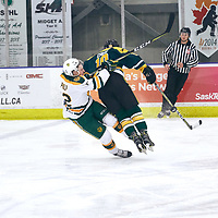 1st year defence man, Mike Eskra (10) of the Regina Cougars during the Men's Hockey Home Game on Sat Jan 26 at Co-operators Center. Credit: Arthur Ward/Arthur Images