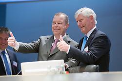 20.04.2016, Messe Essen, Essen, GER, Hauptversammlung RWE AG, im Bild v.l. Peter Terium (Manager und Vorstandsvorsitzender der RWE AG) und Rolf Martin Schmitz (Manager und stellvertretender Vorstandsvorsitzender der RWE AG) // during the annual general meeting of RWE AG at the Messe Essen in Essen, Germany on 2016/04/20. EXPA Pictures © 2016, PhotoCredit: EXPA/ Eibner-Pressefoto/ Deutzmann<br /> <br /> *****ATTENTION - OUT of GER*****