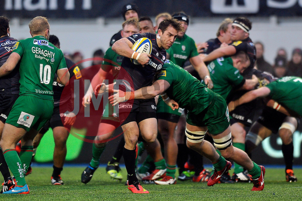 Chris Wyles of Saracens in possession - Photo mandatory by-line: Patrick Khachfe/JMP - Mobile: 07966 386802 03/01/2015 - SPORT - RUGBY UNION - London - Allianz Park - Saracens v London Irish - Aviva Premiership