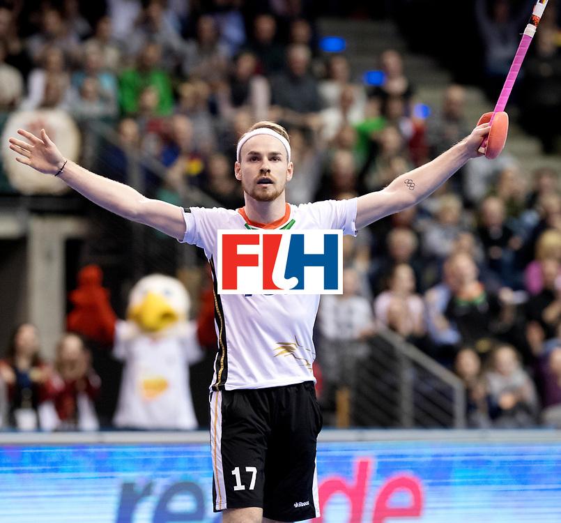 BERLIN - Indoor Hockey World Cup<br /> Quarterfinal 3: Germany - Switzerland<br /> foto: Christopher R&uuml;hr scores and celebrates.<br /> WORLDSPORTPICS COPYRIGHT FRANK UIJLENBROEK