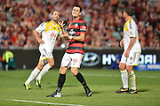 01.01.2014 Sydney, Australia. Wanderers forward Tomi Juric goes close during the Hyundai A League game between Western Sydney Wanderers FC and Wellington Phoenix FC from the Pirtek Stadium, Parramatta. Wellington won 3-1.