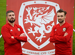 CARDIFF, WALES - Saturday, October 13, 2018: Wales' Kieron Freeman (L) and Gwion Edwards pose for a portrait after being called up to the Wales senior squad, pictured after a training session at the Vale Resort ahead of the UEFA Nations League Group Stage League B Group 4 match between Republic of Ireland and Wales. (Pic by David Rawcliffe/Propaganda)
