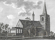 Engraving of Scottish landscapes and buildings from late eighteenth century, Brechin church and tower, Scotland, UK , drawn by S Hooper