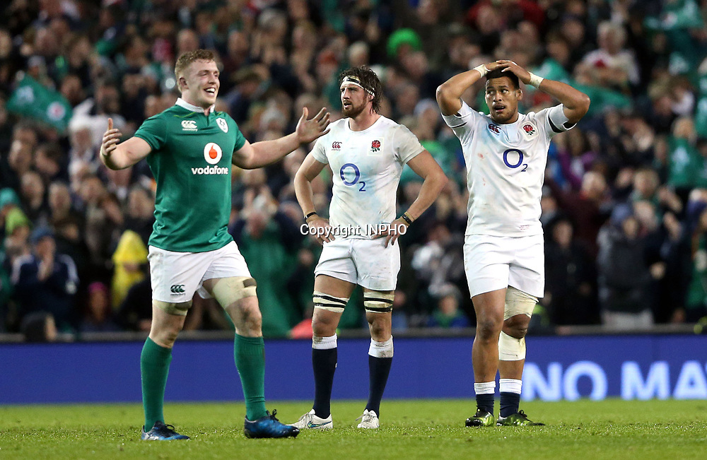 RBS 6 Nations Championship Round 5, Aviva Stadium, Dublin 18/3/2017<br /> Ireland vs England<br /> England's Tom Wood and Nathan Hughes after the game<br /> Mandatory Credit &copy;INPHO/Andrew Fosker