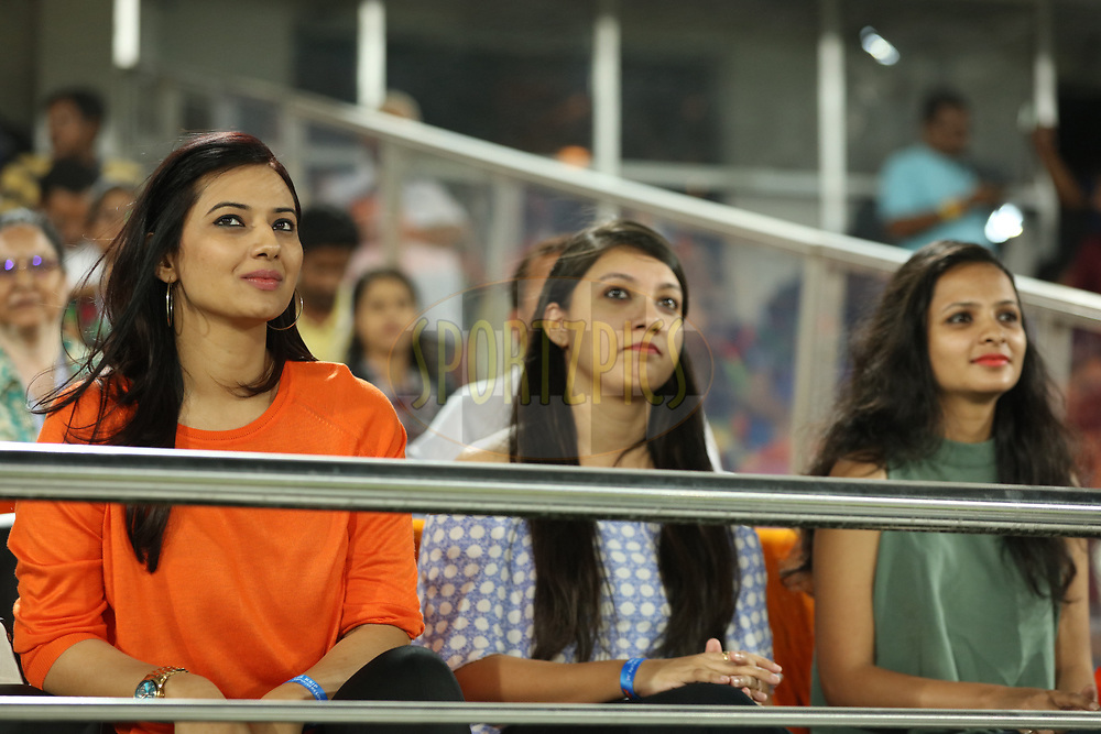 Telegu actress Isha Chawla enjoying during match twenty five of the Vivo Indian Premier League 2018 (IPL 2018) between the Sunrisers Hyderabad and the Kings XI Punjab  held at the Rajiv Gandhi International Cricket Stadium in Hyderabad on the 26th April 2018.<br /> <br /> Photo by Saikat Das /SPORTZPICS for BCCI