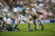 Twickenham. Great Britain, Irelands, Eoin REDDAN, prepares to kick clear as  England's left Tom CROFT and  Steve BORTHWICK move in, during the Six Nations Rugby, England vs Ireland,  Match played at the RFU Stadium, 15.03.2008.   [Mandatory Credit. Peter Spurrier/Intersport Images]