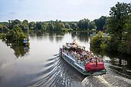 excursion boat on the river Ruhr in Muelheim, Ruhr Area, Germany.<br /> <br /> Ausflugsschiff auf der Ruhr in Muelheim an der Ruhr, Ruhrgebiet, Deutschland.