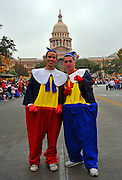Tweedledum and Tweedledee in front of the Texas State Capitol at the 20th Annual Chuy's Children Giving to Children Parade, Austin, Texas, November 29, 2008. Chuy's is a Tex Mex restaurant in Austin.  The Children Giving to Children Parade features gifts given by the viewers to Operation Blue Santa.