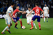 Midfielder Maxime Lopez of Olympique de Marseille with Midfielder Koke and Midfielder Saul Niguez of Atletico de Madrid during the UEFA Europa League, Final football match between Olympique de Marseille and Atletico de Madrid on May 16, 2018 at Groupama Stadium in Decines-Charpieu near Lyon, France - Photo Jean-Marie Hervio / ProSportsImages / DPPI