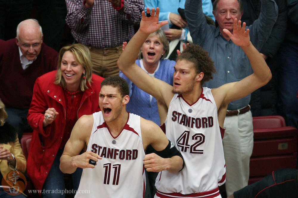 January 31, 2007; Stanford, CA, USA; Stanford Cardinal forward Brook Lopez (11) and center Robin Lopez (42) during the game against the Gonzaga Bulldogs at Maples Pavilion. The Bulldogs defeated the Cardinal 90-86.