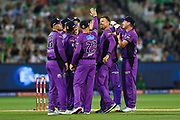 14th January 2019, Melbourne Cricket Ground, Melbourne, Australia; Australian Big Bash Cricket, Melbourne Stars versus Hobart Hurricanes; Hobart Hurricanes players celebrate the opening wicket