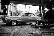 Actor Jason Lee in a 1964 Pontiac GTO on set filming a Season 2 Memphis Beat promo for TNT in New Orleans, LA.