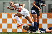 KNOXVILLE,TN - AUGUST 23, 2015 - Forward Anna McClung #37 of the Tennessee Volunteers celebrates after scoring a goal during the match between the University of Tennessee Volunteers and Georgia Southern University at Regal Soccer Stadium in Knoxville, TN. Photo By Craig Bisacre/Tennessee Athletics