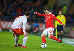 CARDIFF, WALES - Friday, November 13, 2015: Wales' Paul Dummett in action against the Netherlands during the International Friendly match at the Cardiff City Stadium. (Pic by David Rawcliffe/Propaganda)
