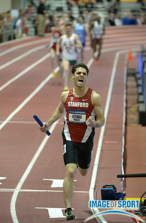 Mar 14, 2014; Albuquerque, NM, USA; Michael Atchoo of Stanford celebrates after running the anchor leg on the victorious Stanford distance medley relay that won in 9:37.63 in the 2014 NCAA Indoor Championships at Albuquerque Convention Center.