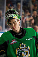 KELOWNA, BC - JANUARY 19: Ian Scott #33 of the Prince Albert Raiders stands at the bench against the Kelowna Rockets at Prospera Place on January 19, 2019 in Kelowna, Canada. (Photo by Marissa Baecker/Getty Images)***Local Caption***