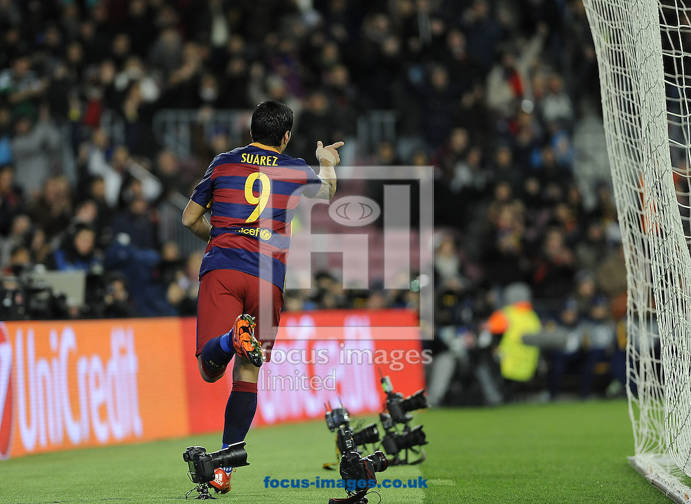 Luis Suraz of FC Barcelona celebrates during the UEFA Champions League match at Camp Nou, Barcelona<br /> Picture by Stefano Gnech/Focus Images Ltd +39 333 1641678<br /> 24/11/2015