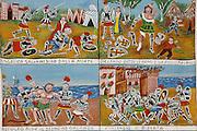 the heroic deeds of the Charlemagne cycle painted in Mimmo Cuticchio theatre..Le gesta eroiche di Carlo Magno e dei suoi paladini, i temi dell'opera dei pupi nei dipinti da cantastorie nel teatro di Cuticchio.