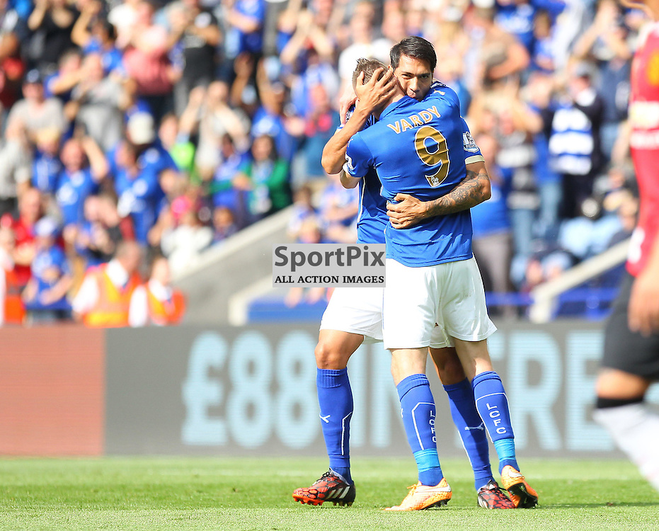 Leicester City's Leonardo Ulloa and Leicester City's Jamie Vardy during the Barclays Premiership match between Leicester City FC and Manchester United FC, at the King Power Stadium, Leicester, 21st September 2014 © Phil Duncan | SportPix.org.uk