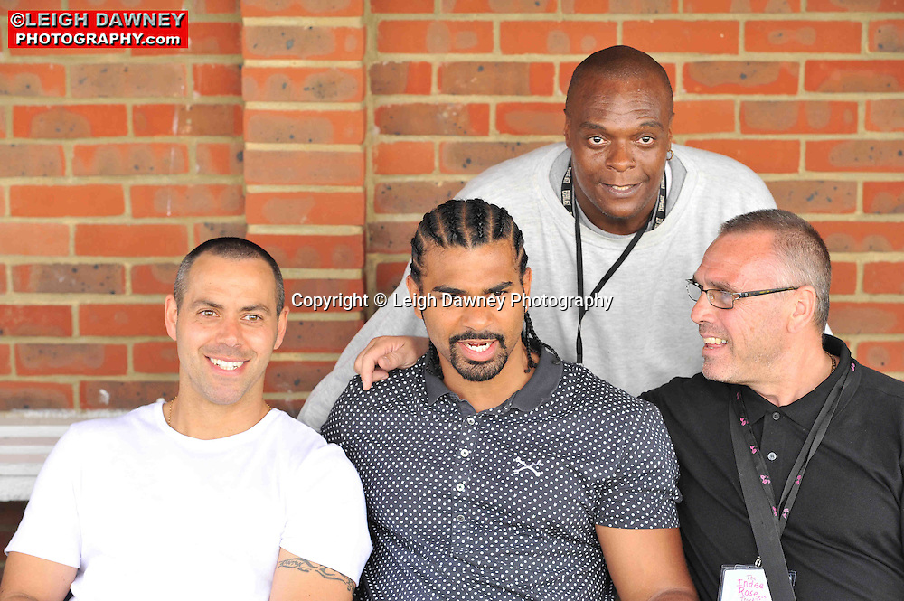 Bottom row left to right Adam Booth, David Haye and Johnny Eames at the Indee Rose Charity Football Tournament at Canvey Island Football Club on 25th July 2010. www.theindeerosetrust.org. Photo credit: © Leigh Dawney