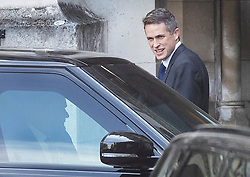 © Licensed to London News Pictures. 24/07/2019. London, UK. Former Defence Secretary Gavin Williamson talks to a police close protection team sitting in a Range Rover in Parliament. The Conservative Party has elected Boris Johnson as their new leader and Prime Minister, following Theresa May's announcement that she will step down. Photo credit: Peter Macdiarmid/LNP