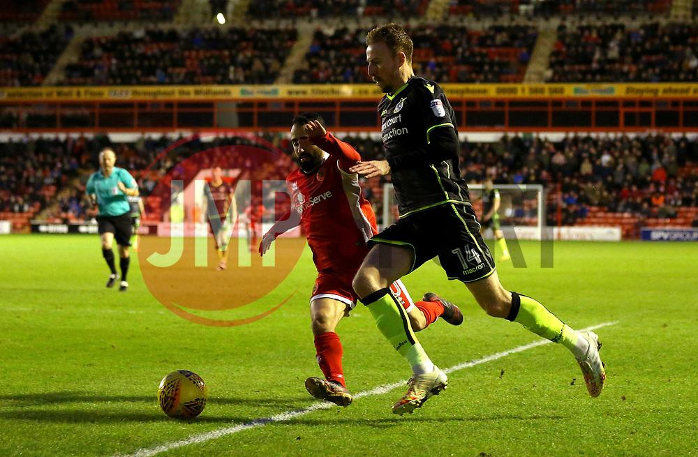 Chris Lines of Bristol Rovers goes past Erhun Oztumer of Walsall - Mandatory by-line: Robbie Stephenson/JMP - 26/12/2017 - FOOTBALL - Banks's Stadium - Walsall, England - Walsall v Bristol Rovers - Sky Bet League One