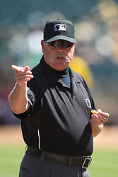 OAKLAND, CA - SEPTEMBER 07:  MLB umpire Jim Joyce #66 stands on the field before the game between the Oakland Athletics and the Houston Astros at O.co Coliseum on September 7, 2014 in Oakland, California. The Houston Astros defeated the Oakland Athletics 4-3.  (Photo by Jason O. Watson/Getty Images) *** Local Caption *** Jim Joyce