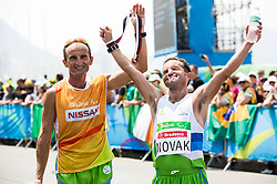Blind Sandi Novak of Slovenia with guide Roman Kejzar celebrates at finish line of the Men's Marathon - T12 Final during Day 11 of the Rio 2016 Summer Paralympics Games on September 18, 2016 in Copacabana beach, Rio de Janeiro, Brazil. Photo by Vid Ponikvar / Sportida