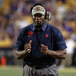 Sep 23, 2017; Baton Rouge, LA, USA; Syracuse Orange head coach Dino Babers against the LSU Tigers during the third quarter of a game at Tiger Stadium. Mandatory Credit: Derick E. Hingle-USA TODAY Sports