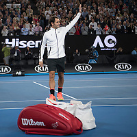 Roger Federer of Switzerland after his match on day five of the 2017 Australian Open at Melbourne Park on January 20, 2017 in Melbourne, Australia.<br /> (Ben Solomon/Tennis Australia)