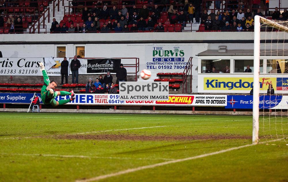 Jamie Ewing (Dumbarton) can't stop Joe Cardle's shot. Dunfermline v Dumbarton Scottish Division 1 Saturday 24 November 2012. (c) Russell Sneddon | StockPix.eu
