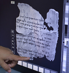 Fragments of the Dead Sea Scrolls are combined on a screen at a library in Jerusalem, Israel, December 18, 2012. Photo by Imago / i-Images...UK ONLY